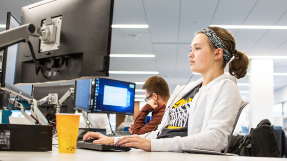 A student uses a lab computer in the Helmke Library.